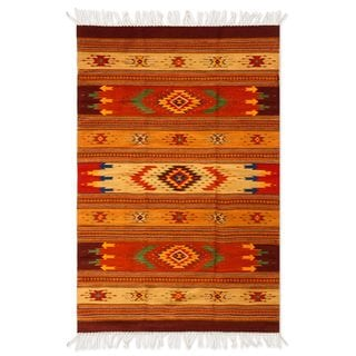 Handcrafted Zapotec Wool 'Stellar Magnificence' Rug 4x7 (Mexico)