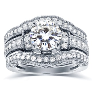 Annello by Kobelli 14k White Gold Moissanite and 4/5 ct TDW Antique Diamond 3-Piece Bridal Rings Set