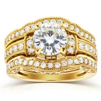 Annello by Kobelli 14k Yellow Gold Moissanite and 4/5 ct TDW Antique Diamond 3-Piece Bridal Rings Set