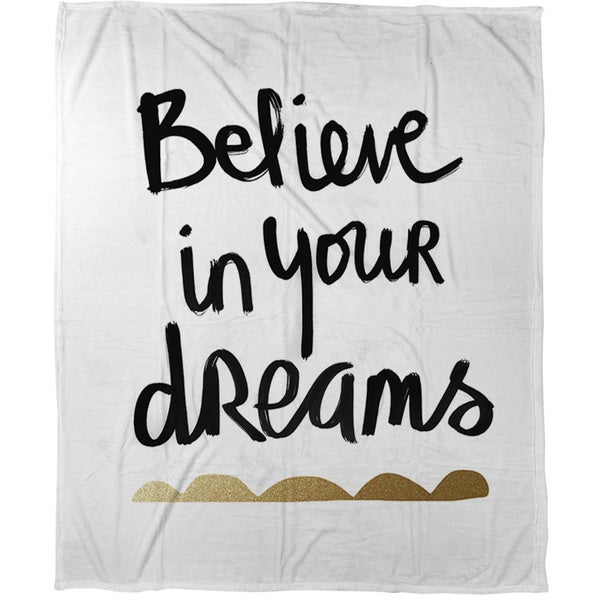 Believe White and Gold Coral Fleece Throw