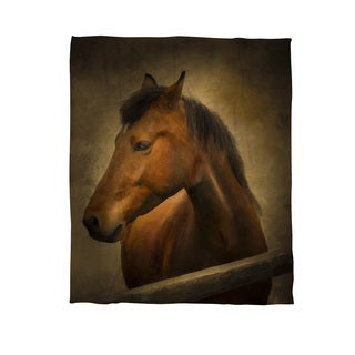 Chestnut Horse at Fence Coral Fleece Throw