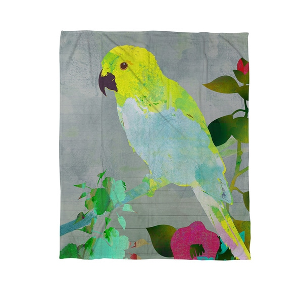 Collage Parrot Coral Fleece Throw