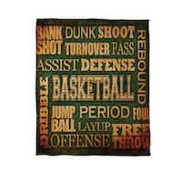 Basketball Words Coral Fleece Throw