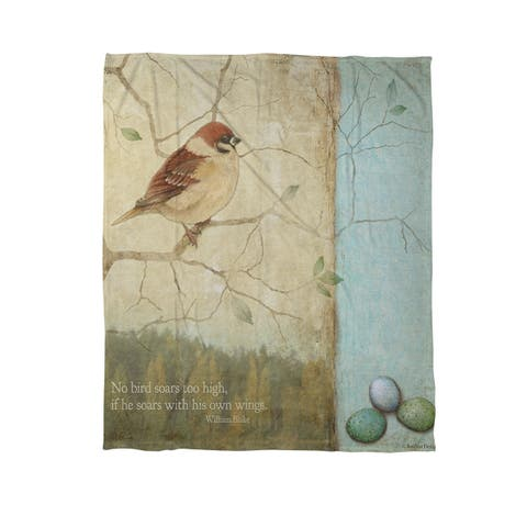 The Gray Barn Grant Bird Quote Sparrow Coral Fleece Throw