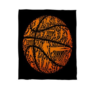 Basketball Sports Silhouettes Coral Fleece Throw
