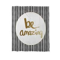 Be Amazing Black and Gold Coral Fleece Throw