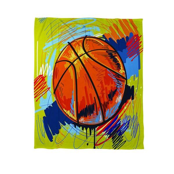 Basketball Slam Dunk Coral Fleece Throw