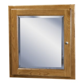 Wall Mounted Oak Medicine Cabinet with Mirror