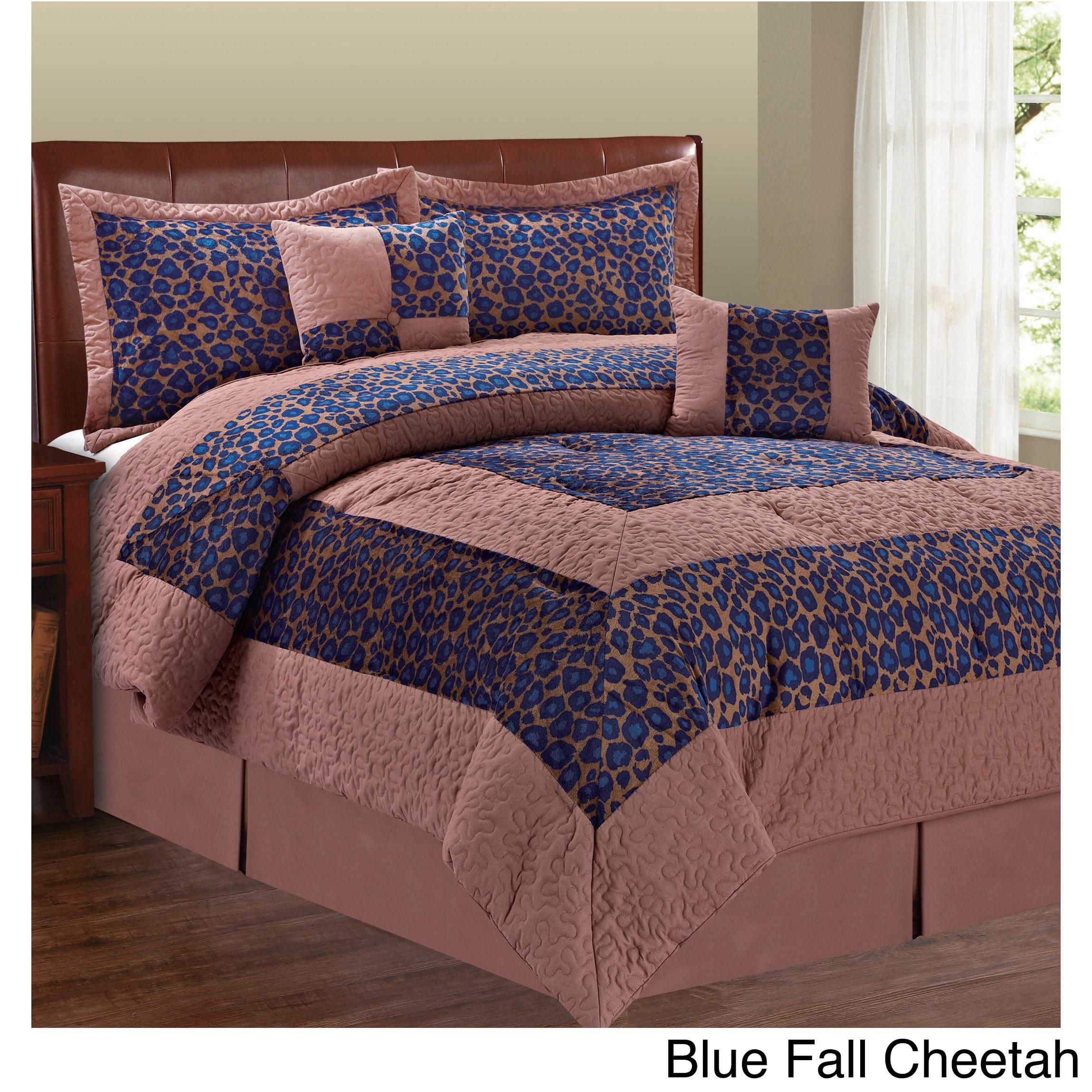 BNF Serenta Cheetah Design 6-piece Comforter Set (Blue Fa...