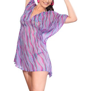 La Leela Wavy Lightweight Beachwear Swimsuit Bikini Cover up Women Dress Tunic Purple