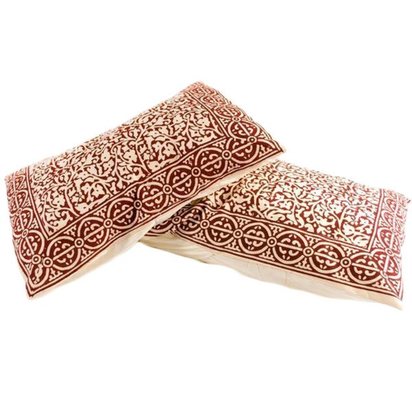 Handmade Set of 2 Brown Chain Detailing Sham Cover (India)