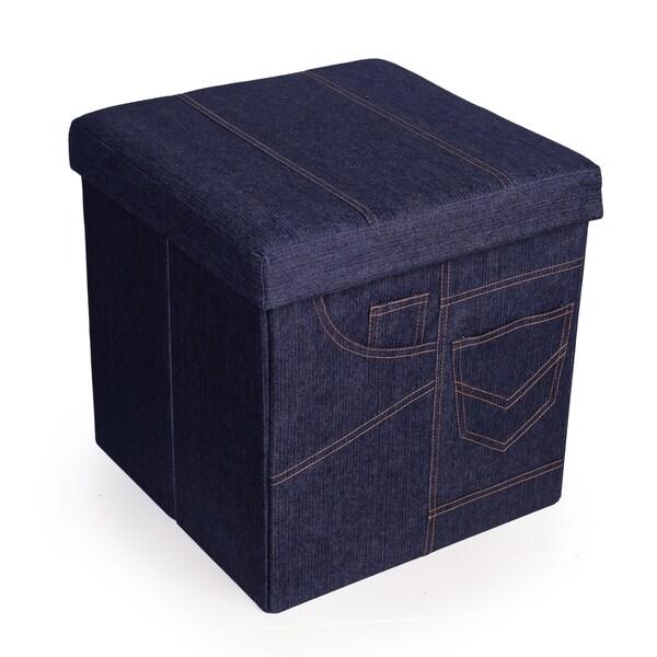 Danya B. Folding Storage Ottoman with Pockets - Denim