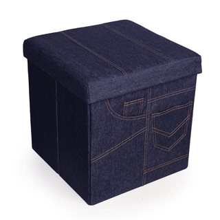 Danya B. Folding Storage Ottoman with Pockets - Denim