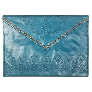 Handmade Cyan Nailhead Clutch (India)