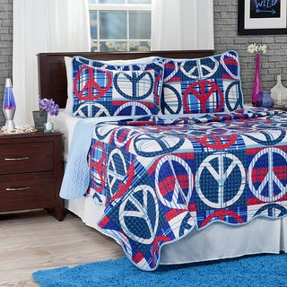 Lavish Home 3-piece Light Blue Abstract Peace Sign Quilt Set