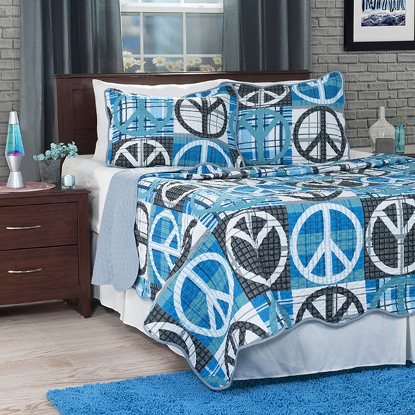 Superieur Lavish Home Grey/Blue Abstract Peace Sign 3 Piece Quilt Set