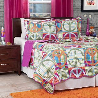 Lavish Home Pink Melon Abstract Peace Sign 3-piece Quilt Set