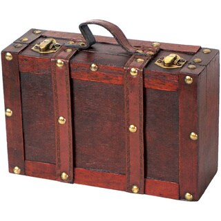 Vintiquewise Cherry-finished Wood and Faux Leather Old-fashioned Small Strapped Suitcase