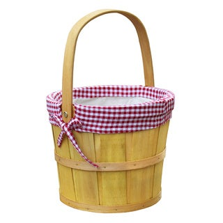 Woodchip Bushel Basket with Red Gingham Lining