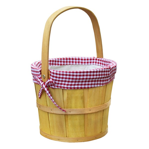 Woodchip Bushel Basket with Red Gingham Lining
