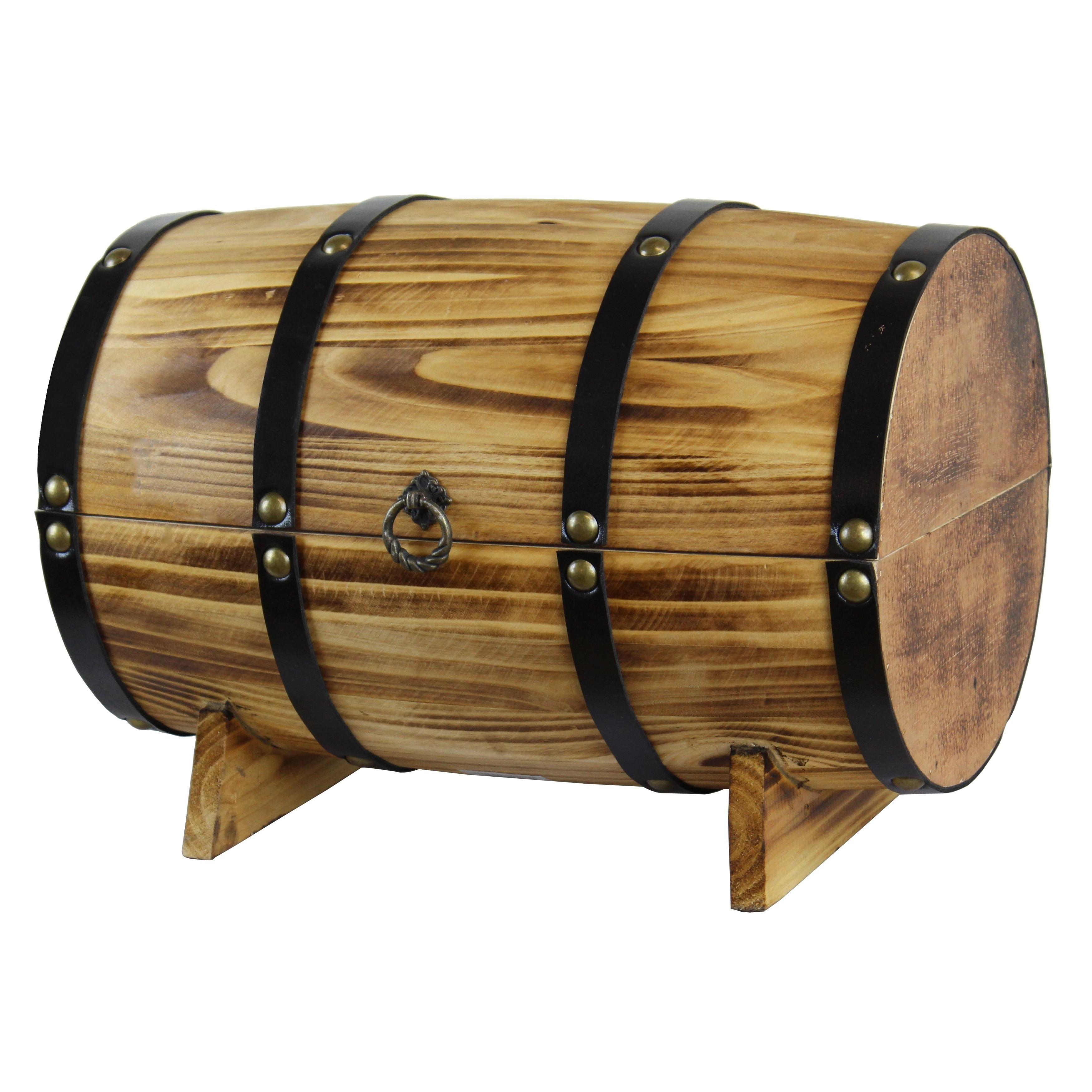 Vintiquewise Wooden Barrel Treasure Chest, Red wine