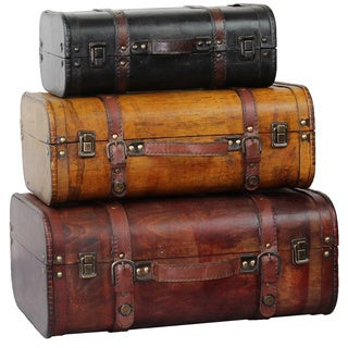 Three Colored Vintage Style Luggage Suitcase (Set of 3)