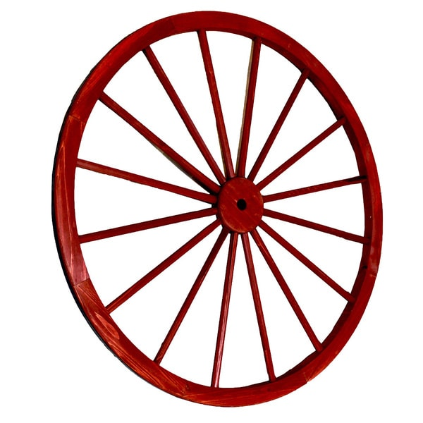 Decorative Antique Red 42-inch Wagon Garden Wheel