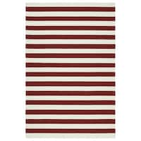 Handmade Indoor/ Outdoor Getaway Red Stripes Rug - 8' x 10'