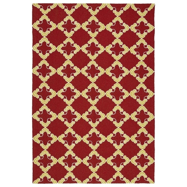 Handmade Indoor/ Outdoor Getaway Red Trellis Rug - 8' x 10'