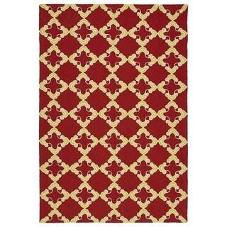 Handmade Indoor/ Outdoor Getaway Red Trellis Rug (8' x 10')
