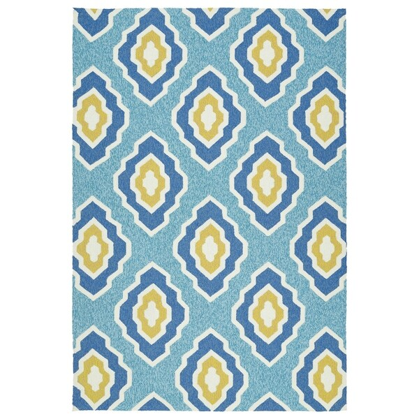 "Handmade Indoor/ Outdoor Getaway Blue Geometric Rug (5' x 7'6) - 5' x 7'6"""