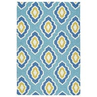 Handmade Indoor/ Outdoor Getaway Blue Geometric Rug - 5' x 7'6
