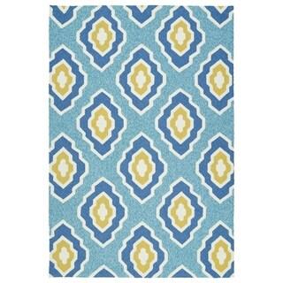 Handmade Indoor/ Outdoor Getaway Blue Geometric Rug - 5' x 7'6