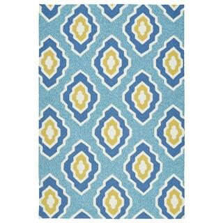 Handmade Indoor/ Outdoor Getaway Blue Geometric Rug (9' x 12') - 9' x 12'