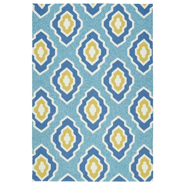 Handmade Indoor/ Outdoor Getaway Blue Geometric Rug - 9' x 12'