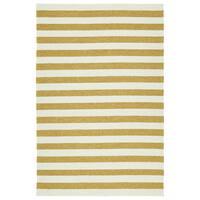 Handmade Indoor/ Outdoor Getaway Gold Stripes Rug - 9' x 12'