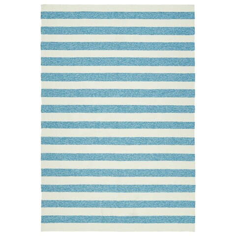 Handmade Indoor/ Outdoor Getaway Blue Stripes Rug - 9' x 12'