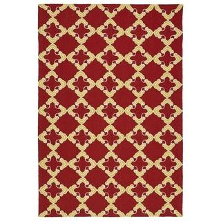 """Handmade Indoor/ Outdoor Getaway Red Trellis Rug (5' x 7'6) - 5' x 7'6"""""""