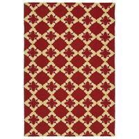 Handmade Indoor/ Outdoor Getaway Red Trellis Rug - 5' x 7'6