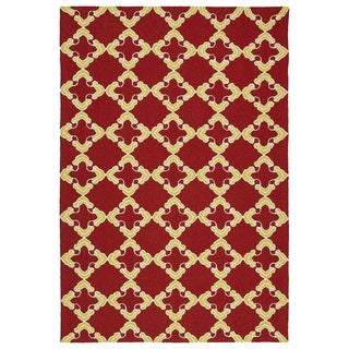 Handmade Indoor/ Outdoor Getaway Red Trellis Rug (9' x 12')