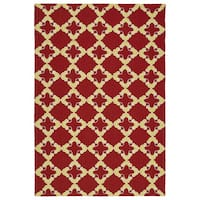 Handmade Indoor/ Outdoor Getaway Red Trellis Rug - 9' x 12'