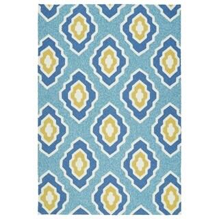 Handmade Indoor/ Outdoor Getaway Blue Geometric Rug (8' x 10') - 8' x 10'