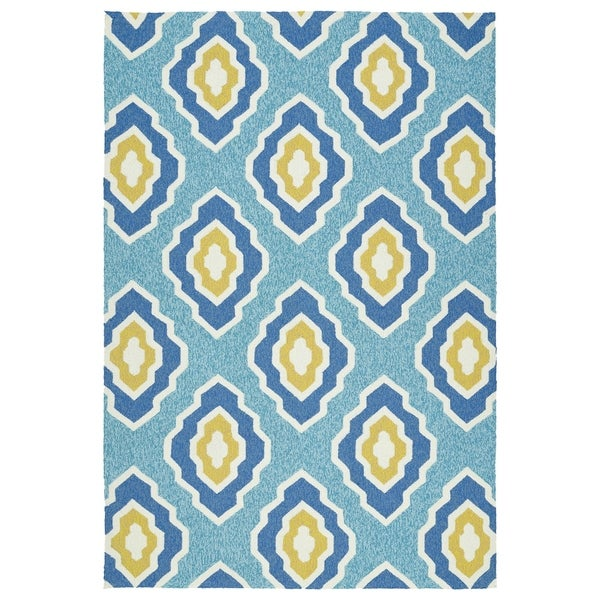 Handmade Indoor/ Outdoor Getaway Blue Geometric Rug - 8' x 10'