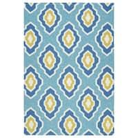 Handmade Indoor/ Outdoor Getaway Blue Geometric Rug - 8' x 10'