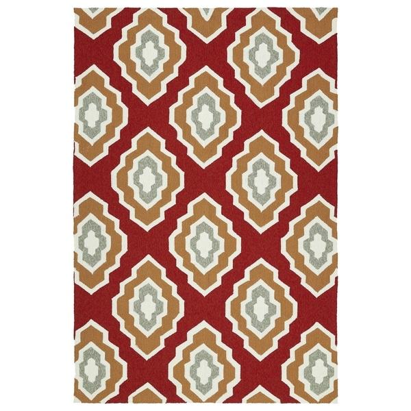 """Handmade Indoor/ Outdoor Getaway Red Geometric Rug (5' x 7'6) - 5' x 7'6"""""""