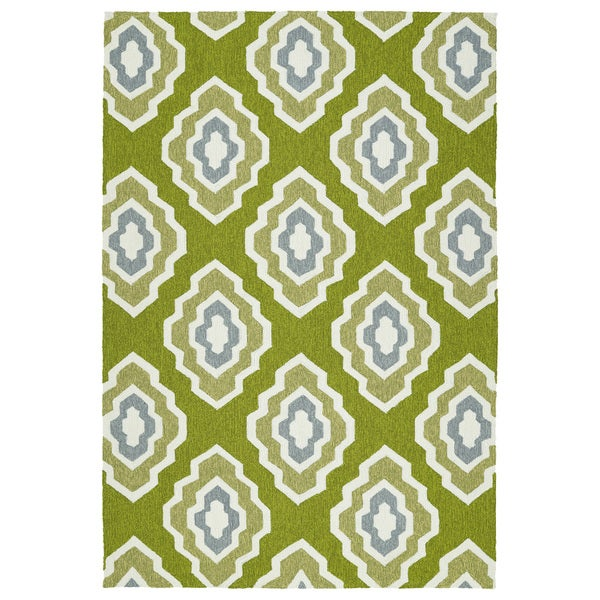 Handmade Indoor Outdoor Getaway Apple Green Geometric Rug