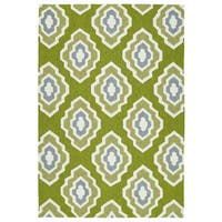 Handmade Indoor/ Outdoor Getaway Apple Green Geometric Rug
