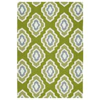 Handmade Indoor/ Outdoor Getaway Apple Green Geometric Rug - 9' x 12'