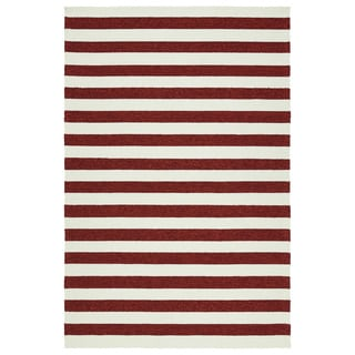 Handmade Indoor/ Outdoor Getaway Red Stripes Rug (9' x 12')