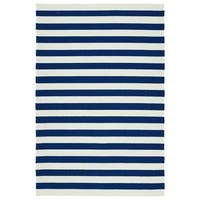 Handmade Indoor/ Outdoor Getaway Navy Stripes Rug - 9' x 12'